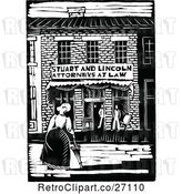 Vector Clip Art of Retro Abraham Lincoln and Stuart Attorney Building by Prawny Vintage