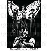 Vector Clip Art of Retro Abraham Lincoln Under Angels by Prawny Vintage