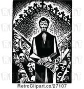 Vector Clip Art of Retro Abraham Lincoln with Crosses and Skeletons by Prawny Vintage