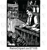 Vector Clip Art of Retro Abraham Lincoln Working at His General Store by Prawny Vintage
