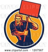 Vector Clip Art of Retro Activist Worker Protesting with a Sign by Patrimonio