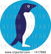Vector Clip Art of Retro Adelie Penguin in Profile in a Blue Circle by Patrimonio