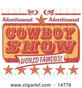 Vector Clip Art of Retro Advertisement for a World Famous Cowboy Show with Stars by Andy Nortnik