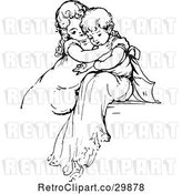 Vector Clip Art of Retro Affectionate KChildren by Prawny Vintage