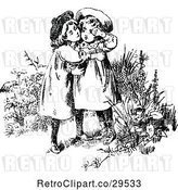 Vector Clip Art of Retro Affectionate Sisters Embracing by Prawny Vintage
