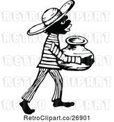 Vector Clip Art of Retro African Boy Carrying a Jug by Prawny Vintage