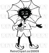 Vector Clip Art of Retro African Boy with an Umbrella by Prawny Vintage