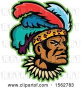Vector Clip Art of Retro African Zulu Warrior Wearing a Feather Headdress by Patrimonio