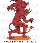 Vector Clip Art of Retro Aggressive Demon or Devil by Patrimonio