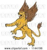 Vector Clip Art of Retro Aggressive Griffin by Patrimonio