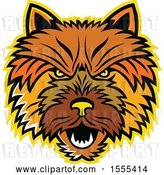 Vector Clip Art of Retro Aggressive Norwich Terrier Dog Mascot Head by Patrimonio