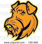 Vector Clip Art of Retro Airedale Terrier Dog Mascot Head by Patrimonio
