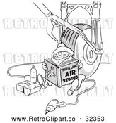 Vector Clip Art of Retro Airplane Assembly Worker Man Reading and Eating Lunch by a Wheel Black and White by Picsburg