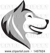 Vector Clip Art of Retro Alaskan Malamute Husky Dog Head in Profile by Patrimonio