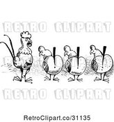 Vector Clip Art of Retro Alert Chickens and a Rooster by Prawny Vintage