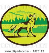 Vector Clip Art of Retro Alert Coyote in a Mountains and Woods Oval by Patrimonio