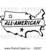 Vector Clip Art of Retro All American Banner over a Map by BestVector