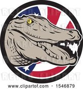 Vector Clip Art of Retro Alligator Head over an American Flag Circle by Patrimonio