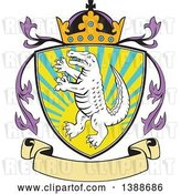 Vector Clip Art of Retro Alligator or Crocodile Coat of Arms Shield with a Crown and Blank Banner by Patrimonio
