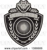 Vector Clip Art of Retro Alligator or Crocodile Coat of Arms Shield with Laurel Branches and a Blank Banner by Patrimonio