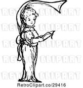 Vector Clip Art of Retro Alphabet Letter F of a Girl Holding a Book by Prawny Vintage