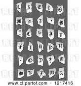 Vector Clip Art of Retro Alphabet Letters and Symbols on Torn Paper over Gray by Vector Tradition SM