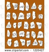 Vector Clip Art of Retro Alphabet Letters on Torn Paper over Brown by Vector Tradition SM