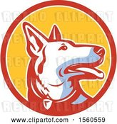 Vector Clip Art of Retro Alsatian German Shepherd Police Dog in a Circle by Patrimonio