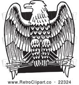 Vector Clip Art of Retro American Bald Eagle with Arrows over a Black Square by BestVector