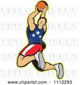 Vector Clip Art of Retro American Basketball Player Juming with the Ball by Patrimonio