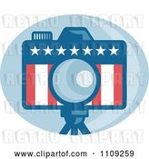 Vector Clip Art of Retro American Camera with Stars and Stripes over a Blue Oval by Patrimonio