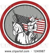 Vector Clip Art of Retro American Cavalry Soldier Playing a Trumpet on Horseback over an American Flag by Patrimonio