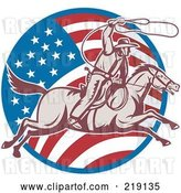 Vector Clip Art of Retro American Cowboy Swinging a Lasso Logo by Patrimonio