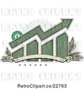 Vector Clip Art of Retro American Dollar Themed Bar Graph and Growth Arrow with a Blank Banner, Stars, Stamp and Leaves by BestVector
