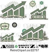 Vector Clip Art of Retro American Dollar Themed Bar Graphs, Labels Numbers and Letters by BestVector