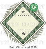 Vector Clip Art of Retro American Dollar Themed Diamond Frame with Stars, a Laurel Wreath and Stamp by BestVector