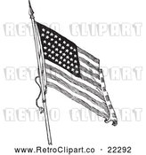 Vector Clip Art of Retro American Flag Waving - 1 by BestVector