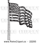 Vector Clip Art of Retro American Flag Waving - 2 by BestVector
