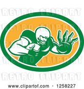 Vector Clip Art of Retro American Football Player Fending off in a Green White and Orange Oval by Patrimonio