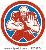 Vector Clip Art of Retro American Football Player Fending off in a Red White and Blue Circle by Patrimonio