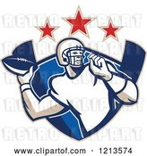 Vector Clip Art of Retro American Football Player Gridiron Quarterback Throwing a Ball over a Shield Under Stars by Patrimonio