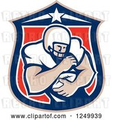 Vector Clip Art of Retro American Football Player Guy in a Shield by Patrimonio