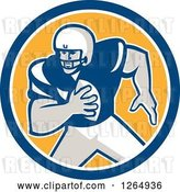 Vector Clip Art of Retro American Football Player in a Blue White and Yellow Circle by Patrimonio