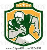 Vector Clip Art of Retro American Football Player in a Green White and Yellow Shield by Patrimonio