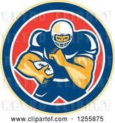 Vector Clip Art of Retro American Football Player in a Red White and Blue Circle by Patrimonio