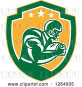 Vector Clip Art of Retro American Football Player in a Yellow Green and White Shield by Patrimonio
