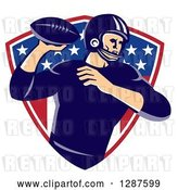 Vector Clip Art of Retro American Football Player Passing the Ball over an American Shield by Patrimonio