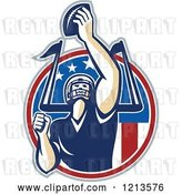 Vector Clip Art of Retro American Football Player Quarterback Holding up a Ball over a Goal Post and American Flag Circle by Patrimonio