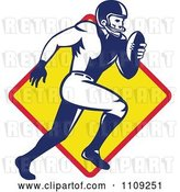 Vector Clip Art of Retro American Football Player Quaterback Running over a Diamond by Patrimonio