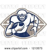 Vector Clip Art of Retro American Football Player Runningback with a Ball over a Design by Patrimonio